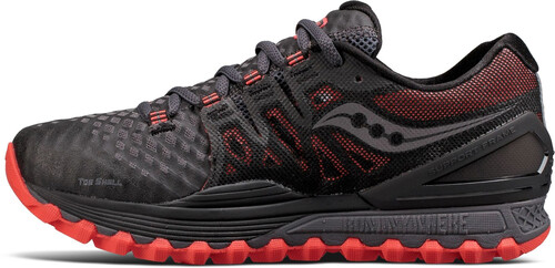 saucony Xodus ISO 2 Shoes Women Grey/Black/Vizipro Red US 7 tUytWV